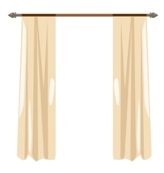 Beige kitchen curtains on ledge decor vector