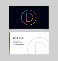 business-card-letter-d vector image vector image