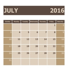 Calendar july 2016 week starts from sunday vector