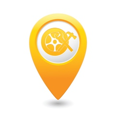 Car wheel service icon on yellow map pointer vector