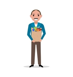 Cartoon man with market paper bag full food vector