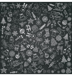 Chalk drawing artistic christmas doodles vector