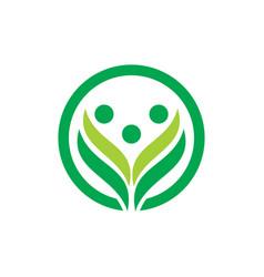 circle leaf logo concept vector image