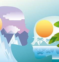 couple whit landscape vector image