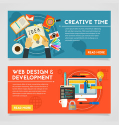 Creative time and web design development concept vector