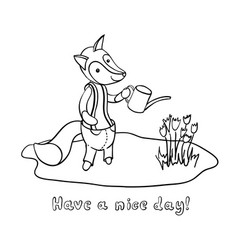 Cute cartoon fox in trousers watering flowers vector