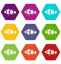 cute clown fish icon set color hexahedron vector image