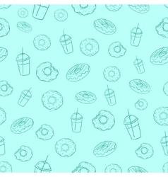 Donut and milkshake seamless background vector image