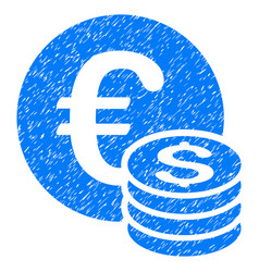 Euro and dollar coins grunge icon vector