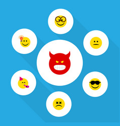 Flat icon emoji set of pouting party time vector