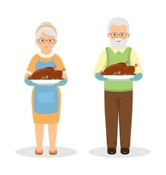 Grandmother with roasted turkey vector