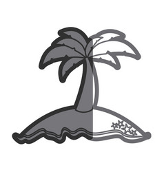 Gray thick contour of island with palm tree vector