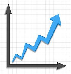 Growth progress blue arrow graph vector