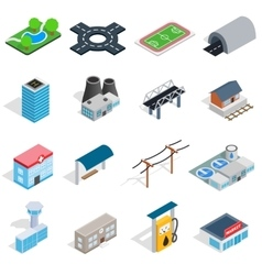 Infrastructure icons set isometric 3d style vector