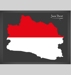 Jawa barat indonesia map with indonesian national vector