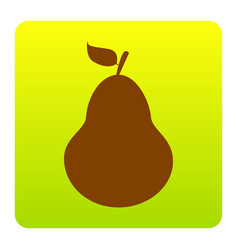 Pear sign brown icon at vector