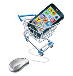 Phone mouse trolley concept vector