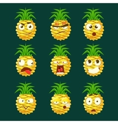 Pineapple Cartoon Emoji Portaraits Fith Different vector image vector image
