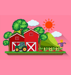 Red barns and tractor in the farmyard vector
