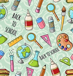 Seamless cute doodle back to school pattern vector
