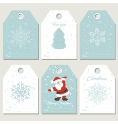 Set christmas gift tags with snoflakes in retro vector