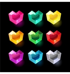 Set of cartoon heart different color crystals vector