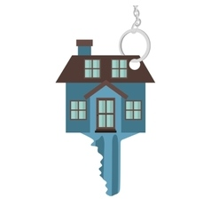 silhouette key blue color with shape house vector image vector image