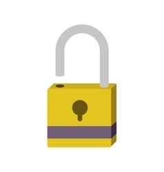 silhouette with opened padlock yellow vector image