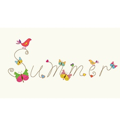 Summer banner word with bird and butteflies vector image vector image