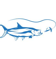 Tarpon fish and lure design vector