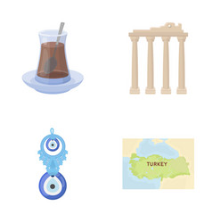 Turkish tea amulet ruins of antiquity map of vector