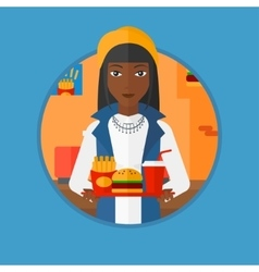 Woman with tray full of fast food vector