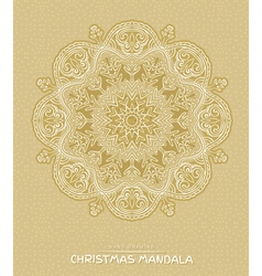 Christmas mandala with decorative holidays element vector