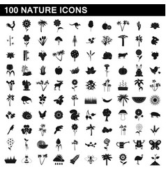 100 nature icons set simple style vector