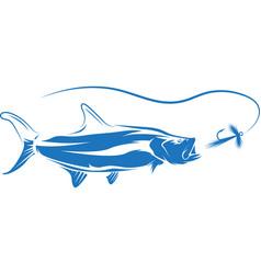 tarpon fish and lure design vector image