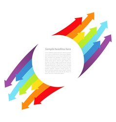Background with rainbow lines with arrows vector image