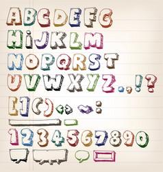 doodle vintage abc elements vector image