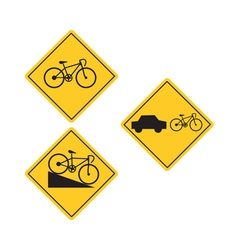 Bicycle road sign symbol vector