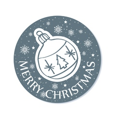 round christmas greeting card with ball grey vector image