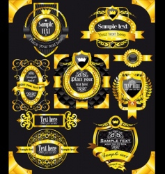 Golden vintage black labels vector