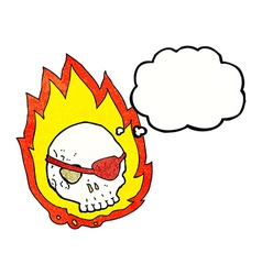 Cartoon burning skull with thought bubble vector