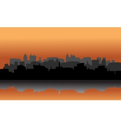 City silhouette reflection of lake vector