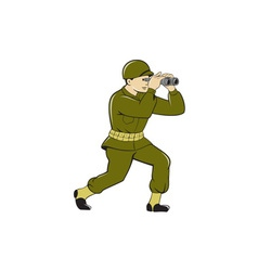 World war two american soldier binoculars cartoon vector