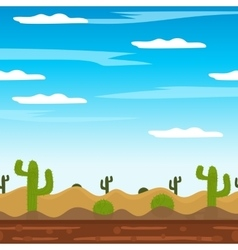 Game background cactus desert heat journey cartoon vector