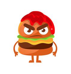 Angry burger with ketchup cute cartoon fast food vector