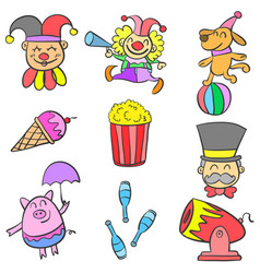 Clown and element circus doodles vector