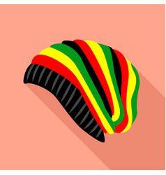 Colored hat icon flat style vector