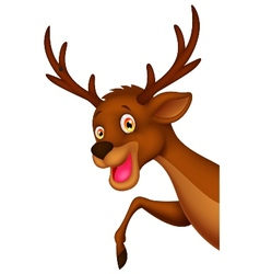Cute cartoon deer waving vector