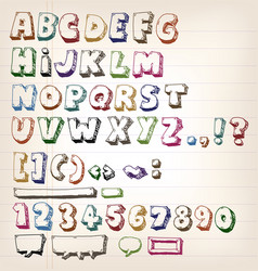 Doodle vintage abc elements vector