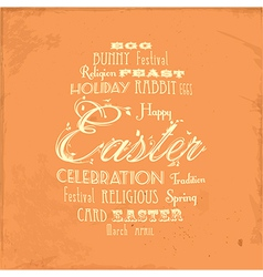 Easter distressed background on orange vector image vector image